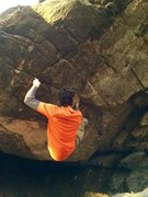 Rock Climbing Photo: Moving into the triangle hold