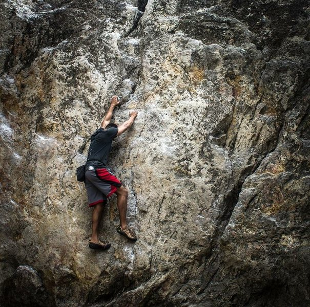 Another climber at indian rock park in Berkeley, CA