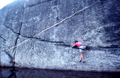Rock Climbing Photo: Scott Cole moving further along his FA solo of &qu...