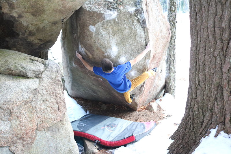 Rock Climbing Photo: Making hard bump moves on the slopers