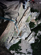 Rock Climbing Photo: The Dubbya-G, on Cannon. Totally epic'ed my first ...