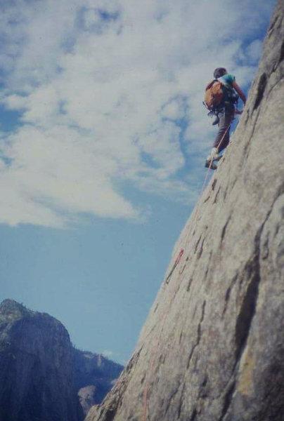 Eric Collins on East Buttress, El Cap (scanned slide)