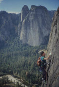 Rock Climbing Photo: Eric Collins, East Buttress, El Cap (scanned slide...
