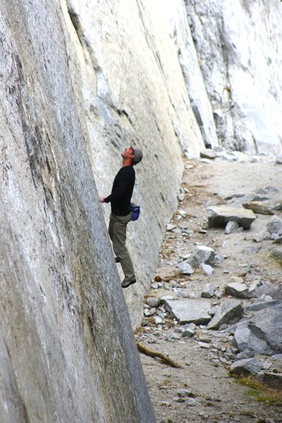 Rock Climbing Photo: Eric Collins bouldering at the base of El Cap