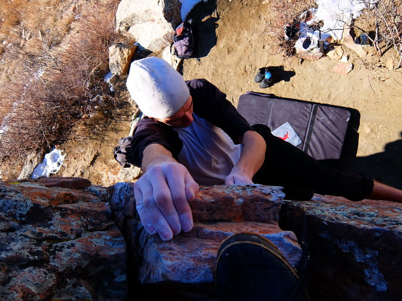 """Topping out on """"Little Crack"""" @ Carter Lake"""