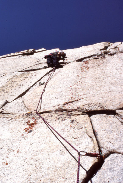 Rock Climbing Photo: TV Skies (5.10d) on the FA in 1990