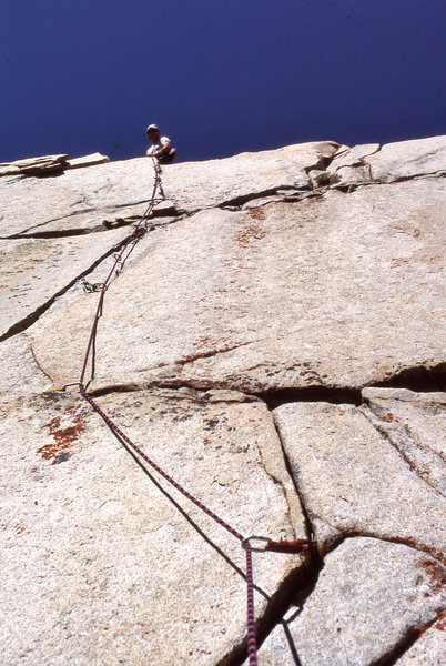 Rock Climbing Photo: Topping out on Television Skies (5.10d) in 1990.