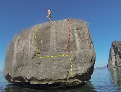 Rock Climbing Photo: Red is the direct route that is a little bit more ...