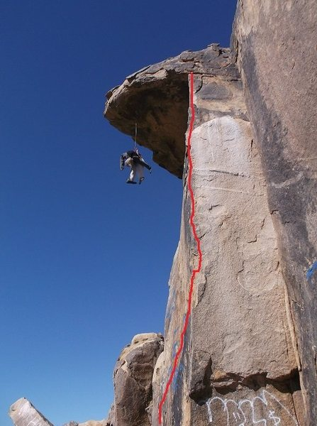 Climb the super obvious arête just to the right of the aid line.
