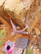 Rock Climbing Photo: Zach H on 'Pink Puff'. The BreezeBlocks