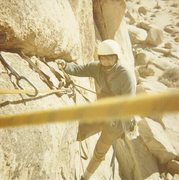 Rock Climbing Photo: Ken Rose cleaning pitch 1, almost to the handing b...