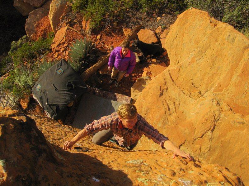 Rock Climbing Photo: Zach with the sitting bull below.