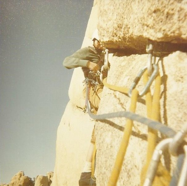 Rock Climbing Photo: Setting off on pitch 2 of Lower Band, 1972.