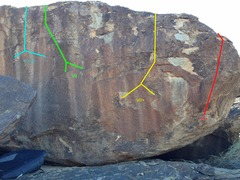 Rock Climbing Photo: Yellow = Route 1 Red = Route 2 Green = Route 3 Cya...
