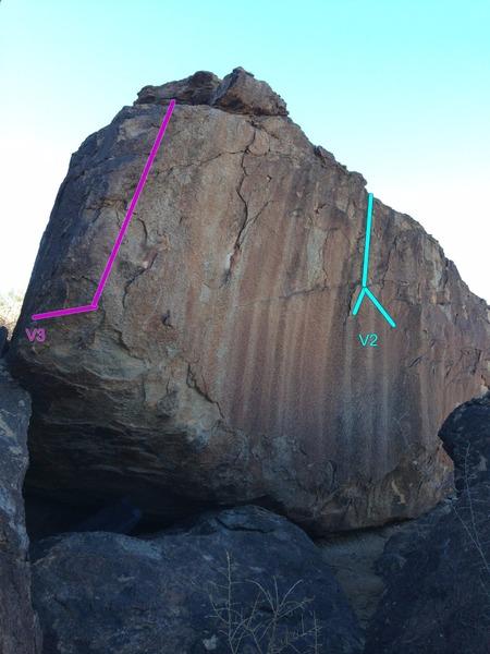 Rock Climbing Photo: Cyan = Route 4 Magenta = Route 5