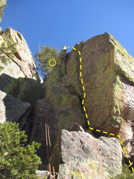 Rock Climbing Photo: The hanging sword as seen from below.  The route g...