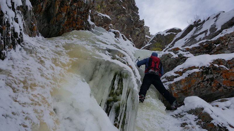 Rock Climbing Photo: Mike Howard on the ice at the start of the route.