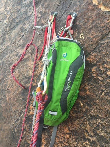 First belay anchor.