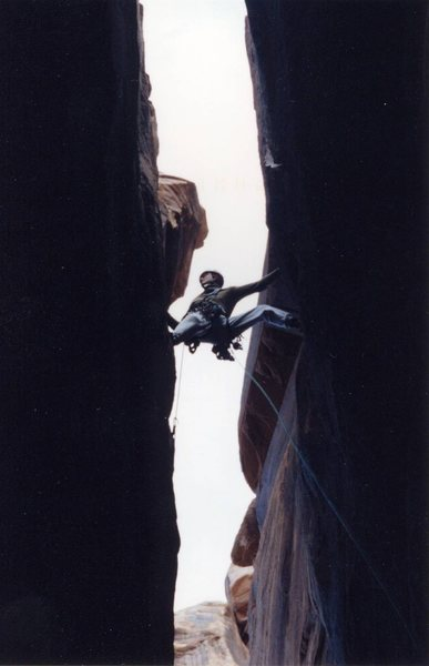 Jared Nielson on the second pitch, first ascent.