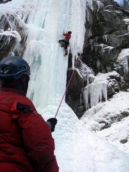 So much great ice in Canada, this was playing around in Kicking Horse Canyon outside of Golden BC.