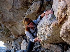 Rock Climbing Photo: Lori Curry near the top of South Slope.