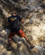 Rock Climbing Photo: buddy ed climbing at Indian Rock Park in Berekeley...