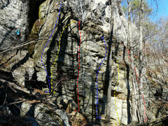 Rock Climbing Photo: A- Bullwinkle Goes Ballistic 5.10a B- Bullwinkle C...