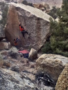 "Rock Climbing Photo: 2nd ascent of ""Wake of the Basilisk""  V4..."