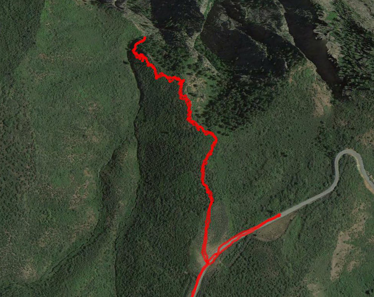 GPS tracks from our approach on 12/29. Had to turn around before rappelling into the ice, but I'm 90% sure we were in the correct drainage. <br> <br> Passed the pulloff on the road initially, hence the random dog-leg east in our tracks. Trail is broken as of 12/29.