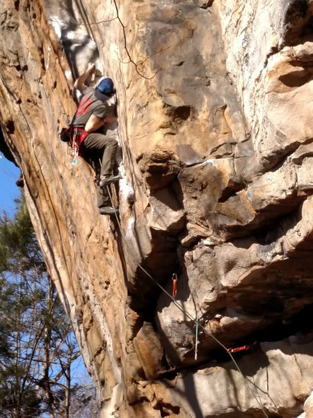 Tom Sanders on his first attempt at leading Psycho Wrangler as a mixed route. He clipped the first bolt and lead the rest on gear.