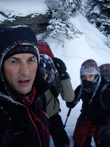 Rock Climbing Photo: A cold day on Cathedral Mountain above Field BC.