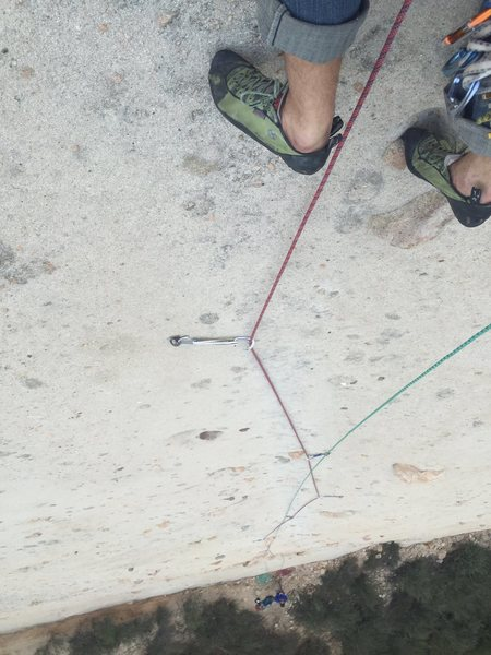 Rock Climbing Photo: a ways up the first pitch. Green rope is the tag l...