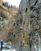 Rock Climbing Photo: Todd leading with Sam on belay