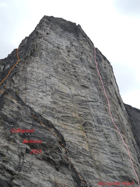 Space Buttress - Steep enough to stay dry<br> <br> Rockfall 2015 -see photo<br> House sized  and unstable boulders now cover the trail to the Gimli-Nisleheim Col.