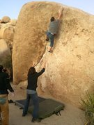 Rock Climbing Photo: big reach at the top