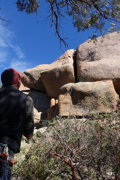 Rock Climbing Photo: Manny on FA with Joe Garcia belaying. The starting...