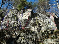 Rock Climbing Photo: A- Air and Pleasant Danger 5.8 B- Short Wave 5.11b...