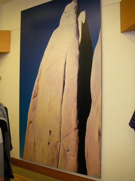 A print of unknown climbers on the first pitch is displayed in a Patagonia store in Seattle.
