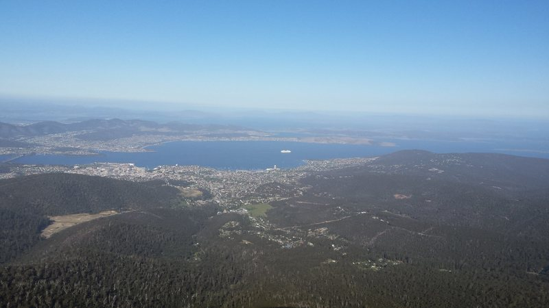 Hobart from the base of the routes