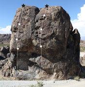 Rock Climbing Photo: Route 1: Crowd Pleaser Route 2: Bumper Brigade