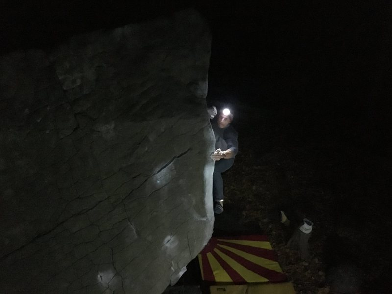 Rock Climbing Photo: Dave Lloyd on a night time run up BSE!