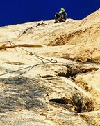 Rock Climbing Photo: Heading up the steep crack section to the gear bel...