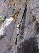Rock Climbing Photo: Eric entering the wide crack on P3.