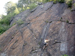 Rock Climbing Photo: Starting the lead.  Safe Harbor Direct on the left...
