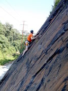 Rock Climbing Photo: Greg Hager on the route