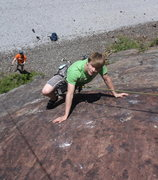 Rock Climbing Photo: Isaac just past the crux