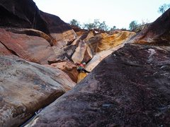 Rock Climbing Photo: On the onsight FA of Chemical Chance in the cool s...