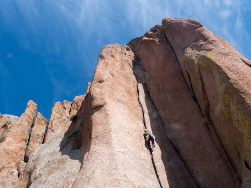 Rock Climbing Photo: Warm in the alcove on a windy day.