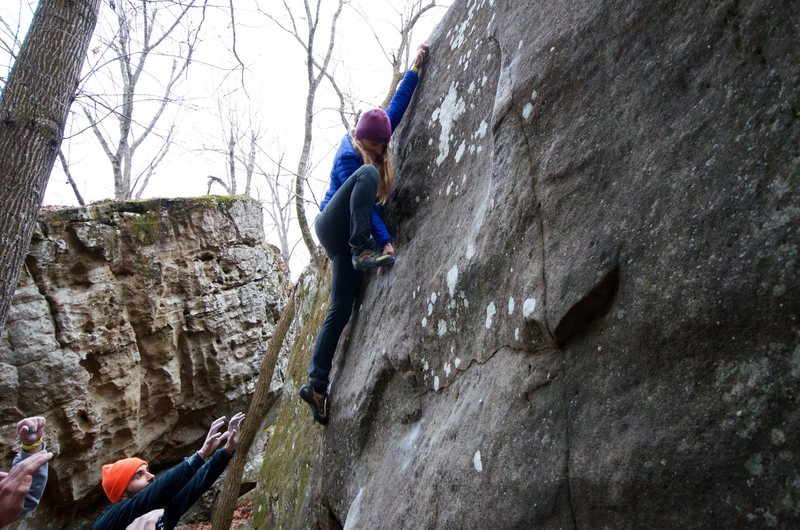 Rock Climbing Photo: Hand foot match on the crescent