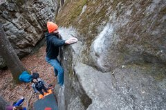 Rock Climbing Photo: Bob staring down the sloper jug!